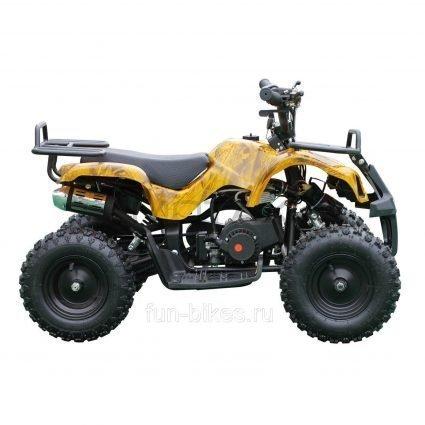 Квадроцикл детский бензиновый MOTAX ATV Х-16 Мини-Гризли Желтый- камуфляж (механический стартер, задний привод, до 45 км/ч)