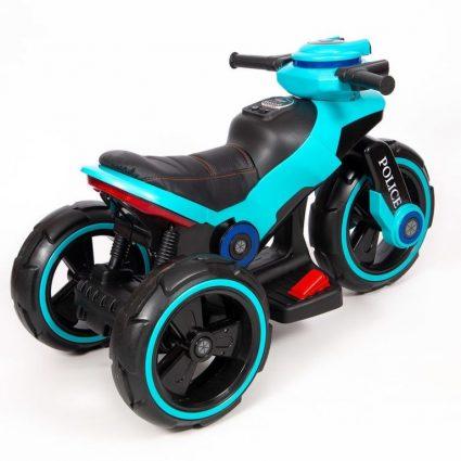 Электромотоцикл Y-Maxi YM 198 Police голубой (кресло кожа, амортизация, подсветка, музыка, скорость 6-7 км\ч)