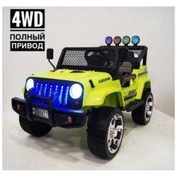 Электромобиль Jeep T008TT 4WD зеленый (2х местный, полный привод, колеса резина, кресло кожа, пульт музыка)