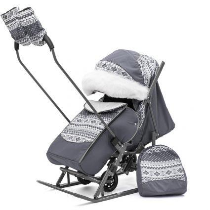 Санки-коляски Pikate Скандинавия «Серый» (материал «Dewspoo» плотностью 240 D, овчина, 3 положения спинки, краска рамы темно-серый)